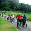 Volta inaugural do sistema de compartilhamento de bicicletas.